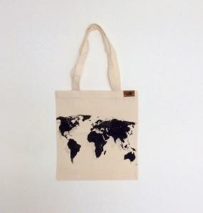 Stofftasche Weltkartenprint